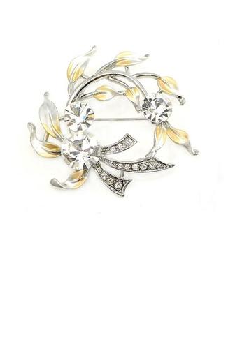 Glamorousky silver Elegant Brooch with Silver Austrian Element Crystal 9854BAC896AE08GS_1