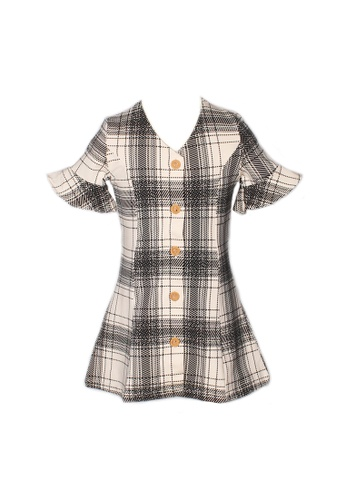 Mini Moley white Checkered Button Down Girl's Dress 4341FKAC806D0CGS_1