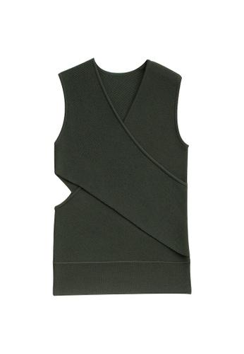 KLAPS 綠色 淨色前胸交叉褶疊針織上衣 432ADAA930D2B3GS_1