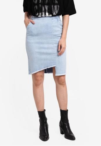 Something Borrowed blue Asymmetric Raw Edge Denim Skirt 0206CAA447EC75GS_1