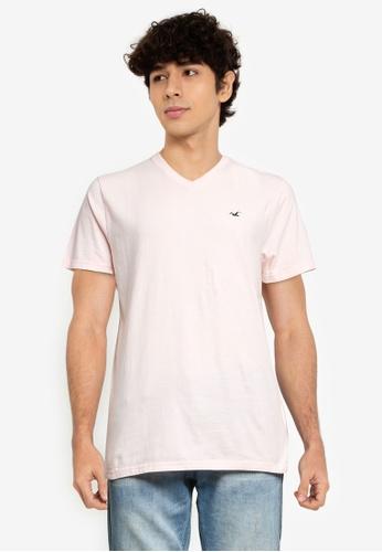 Hollister pink V-Neck T-Shirt C056FAAE2FE62EGS_1