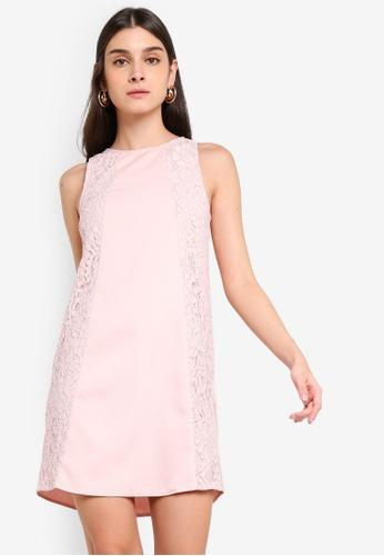 ZALORA 粉紅色 蕾絲洋裝 C50BAAA46D9E68GS_1
