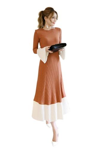 Sunnydaysweety orange F/W New Orange Knitted Flare One Piece Dress UA20061102 20496AA54A1BA5GS_1