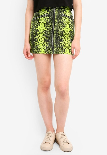 Factorie yellow and multi Zip Front A Line Skirt FE490AA1273783GS_1