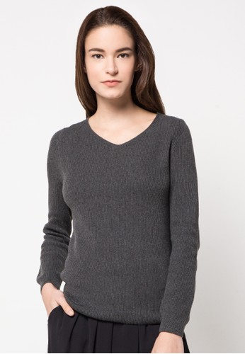 Noir Sur Blanc grey Ladies Vneck Long Sleeve NO321AA56ESDID_1