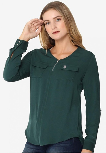 U.S. Polo Assn. black and orange and green Ladies V-Neck Polo Long Sleeves E9CD3AA7185F11GS_1