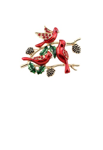 Glamorousky red Fashion and Elegant Plated Gold Enamel Red Bird Brooch with Cubic Zirconia FDB10AC2528AC7GS_1