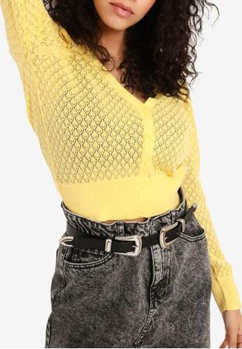 PIMKIE yellow Openwork Crop Cardigan 3271DAA873EC60GS_1