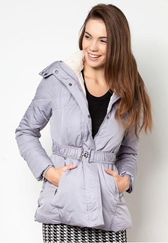 腰帶連帽羽絨外套, 服飾, zalora開箱夾克 & 大衣