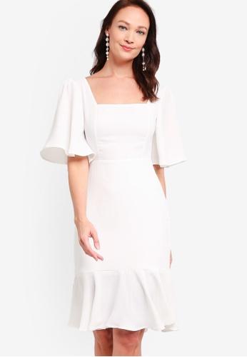 ZALORA OCCASION white Square Neck Mermaid Dress FCFABAAE942F85GS_1
