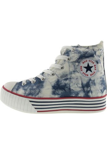 Maxstar 藍色 新款韩国鞋C30-7H時尚帆布布混合女藍色 US Women Size MA345SH01GXATW_1