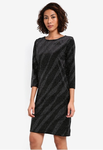 Dorothy Perkins black Velvet Glitter Shift DO816AA0SKROMY_1