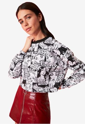 Trendyol black Comic Print Sweatshirt BC736AA8515E95GS_1