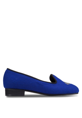 SPUR blue Diamond Embroidered Loafers SP246SH40GTVHK_1