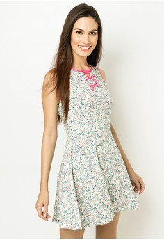 Sleeveless Roundneck Dress With Bows