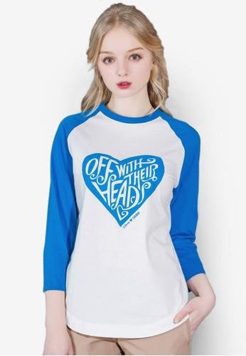 Aesprit hk storelice 心型圖案棒球風七分袖衫, 服飾, 印花時代
