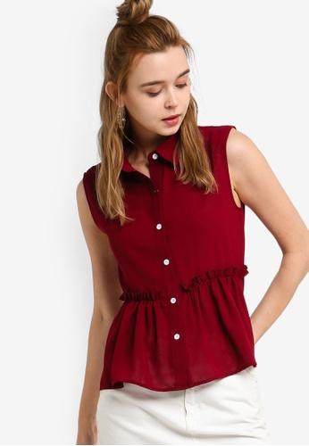 Something Borrowed 紅色 無袖娃娃褶飾上衣 3592AAAE078527GS_1