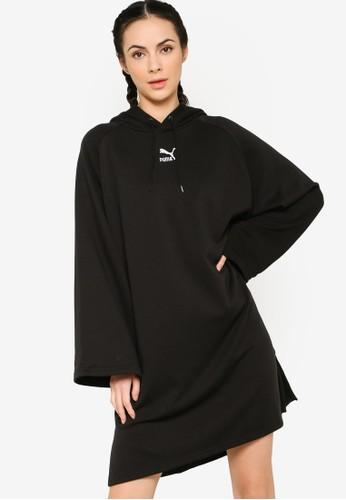 PUMA black Sportstyle Prime Classics Long Sleeve Hooded Dress 2AD1EAA269EA5DGS_1