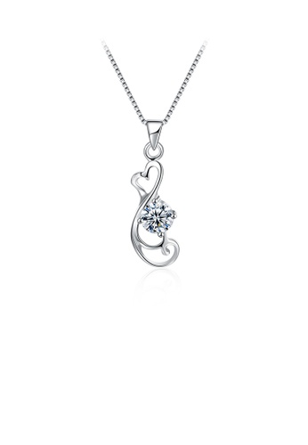 Glamorousky white 925 Sterling Silver Simple Elegant Heart Shape Pendant Necklace with Cubic Zircon 65790AC9412201GS_1