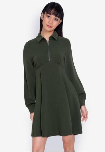 ZALORA BASICS grey Collared Sweater Fit & Flare Dress A831CAAE533363GS_1