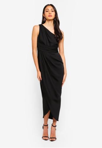 Forever New black Mandy One Shoulder Drape Maxi Dress A5859AA5C991EFGS_1