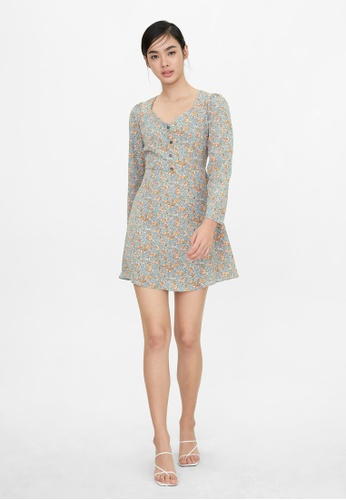 Pomelo blue Sweetheart Buttoned Floral Dress - Blue 9CF2EAA57963BBGS_1