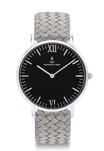 """Kapten & Son grey Campus Silver """"Black Grey Woven Leather"""" 8FFE5ACAA92E28GS_1"""