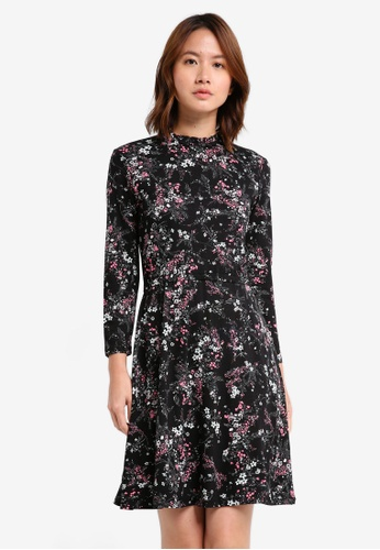 WAREHOUSE black Sprig Floral Channel Dress 0AC40AA8C799DBGS_1