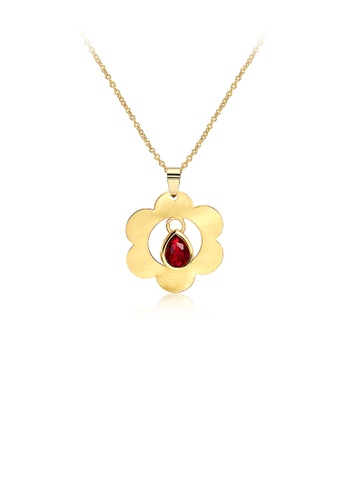 Glamorousky red Gold Flower Pendant with Red Austrian Element Crystal and Necklace F1982AC0182FEAGS_1