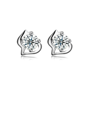 Glamorousky white 925 Sterling Silver Simple Mini Elegant Ear Studs and Earrings with Cubic Zircon A1048ACF1C81A1GS_1
