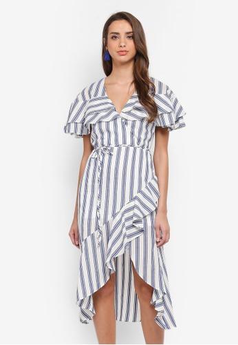 River Island blue Stripe Waisted Dress CE833AA421D0AFGS_1
