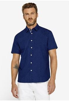 e3fdee1bdd27 ESPRIT navy Short Sleeve Cotton Shirt 0ABCBAAB7E43D0GS_1