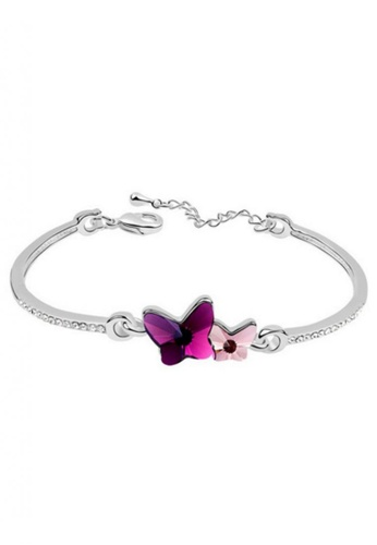 LOVENGIFTS white and pink and purple LOVENGIFTS Adore Butterflies Bangle (Purple) LO429AC23PBSMY_1