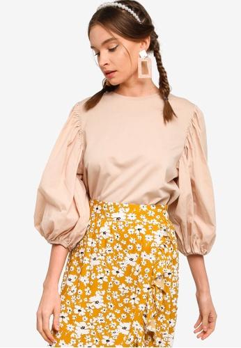 Lubna brown Puff Sleeve Top 3642FAA03118F3GS_1