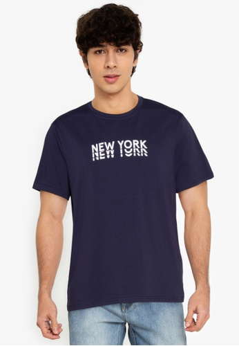 ZALORA BASICS navy New York T-Shirt 63F8CAAAAAD702GS_1