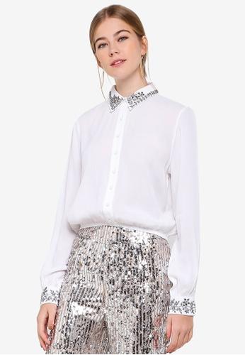 Miss Selfridge white Embellished Collar Shirt CFFA8AA8E09364GS_1
