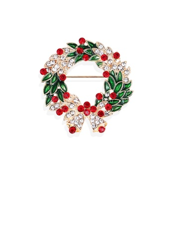 Glamorousky green Fashion and Elegant Plated Gold Christmas Wreath Brooch with Cubic Zirconia 74C32ACD69E9D1GS_1