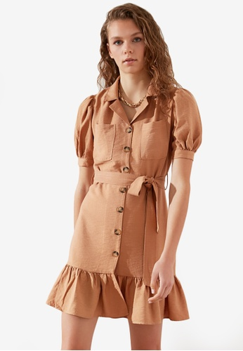 Trendyol brown Belted Button Down Dress EE8F6AA238CEA5GS_1
