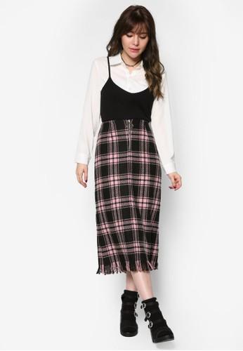 韓時尚格紋羊毛過膝裙, esprit台灣官網服飾, 裙子