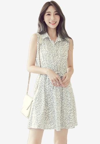 Eyescream white Printed Flare Shirt Dress B5692AA65897D1GS_1