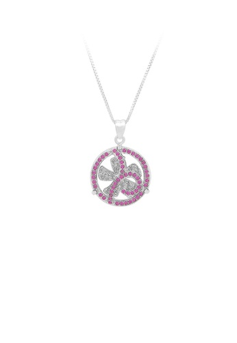 Glamorousky silver 925 Sterling Silver Windmill Pendant with Rose Red Cubic Zircon and Necklace 95907ACEB6AE39GS_1