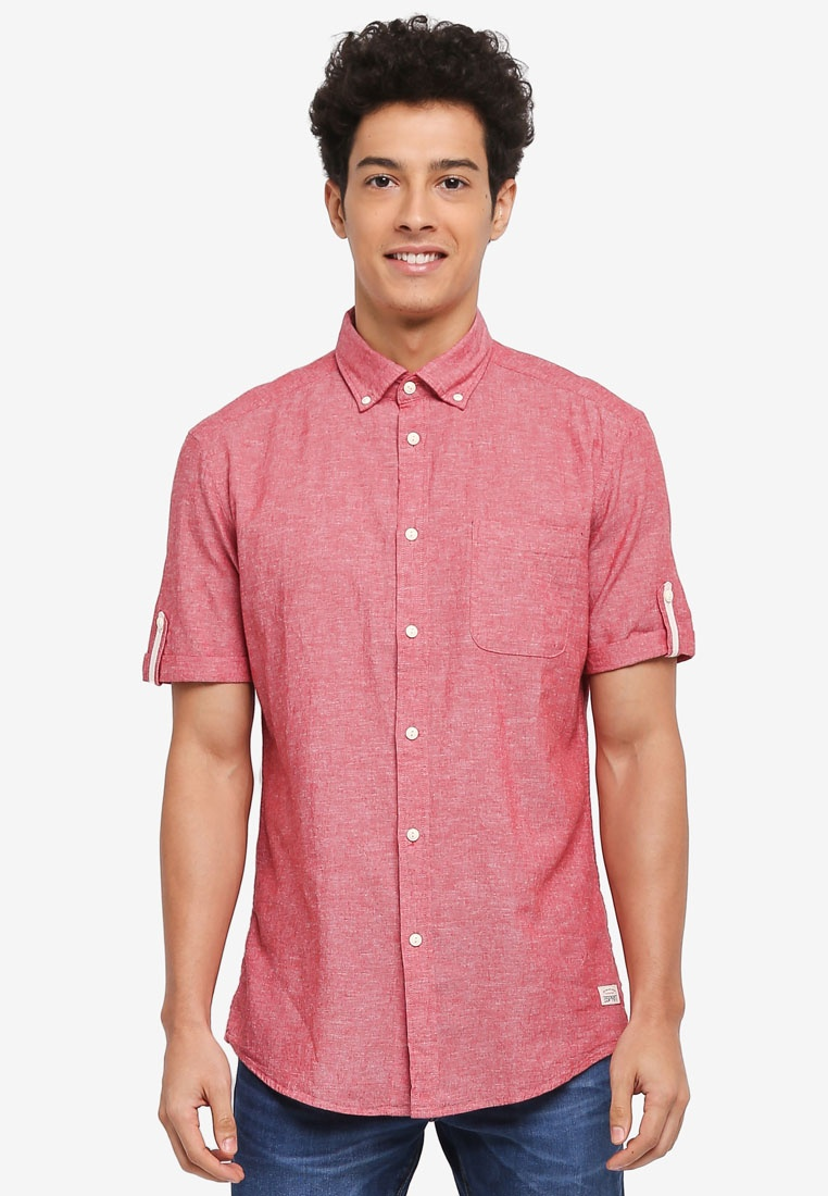 Woven ESPRIT Shirt Blush Short Sleeve FHfzxFwq