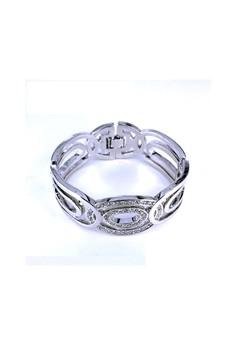 Paris Bijoux BB12226A Rhodium Plated Bangle - Crystal