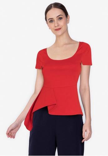 ZALORA WORK red Asymmetric Drape Top ACD93AA968FD6BGS_1