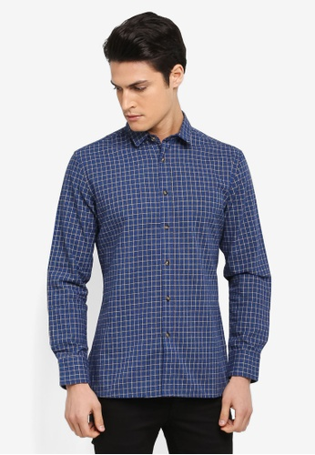 ZALORA blue Checked Long Sleeve Shirt 8CE2CAAC900616GS_1