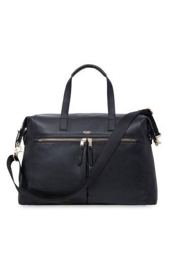 "knomo black Audley 14"" Slim Leather Bag (Black) 86A5DACECF3A25GS_1"