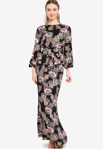 Lubna black Belted Puff Sleeves Kurung 61D9BAABA86F77GS_1