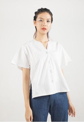 THE GOODS DEPT white MERA MERA STUDIO - Stripes Shan Laidback Shirt White C60C8AA3BADEAAGS_1