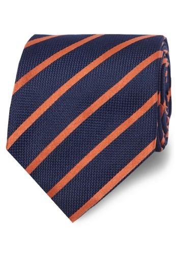 T.M. LEWIN navy T.M.Lewin Navy Orange Stripe Textured Satin Silk Tie E5D24ACD4E6E59GS_1