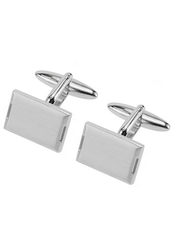 CUFF IT silver Simple Brushed Silver Cufflinks CU047AC39FSAHK_1